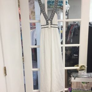 Embroidered Cross-back Maxi Dress